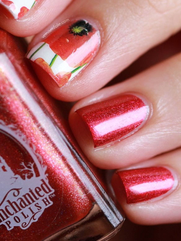 Gentil coquelicot, mesdames // Water decals (Born Pretty) et July 2014 (Enchanted Polish)